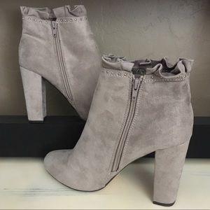 "XOXO Taupe ""Yarissa"" Chunky Heel Booties"